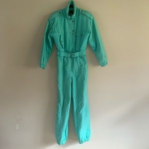Vintage Fera Teal Blue 80s 90s Snow Suit